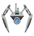 android robot with glass button and pincer hands