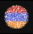 armenia flag sparkling badge vector image vector image