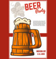 beer poster template with mug and beer hop design vector image vector image