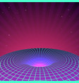 black hole in neon colors 80s or 90s sci-fi vector image vector image