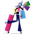 blonde girl with suitcase vector image