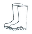 blurred sketch silhouette of fishing plastic boots vector image vector image