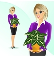 business woman holding sanchezia vector image vector image