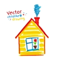 Childlike drawing of house vector image vector image
