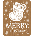 christmas greeting card with sock on wood vector image vector image