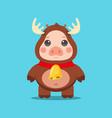 christmas reindeer pig cartoon character vector image vector image