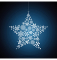 Christmas star snowflake design background vector image