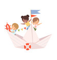 cute little kids sailing on a paper boat vector image