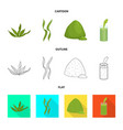 design of protein and sea icon set of vector image vector image