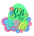 easter sale paper design egg and flowers vector image