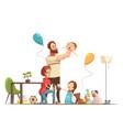 family home retro cartoon poster vector image vector image