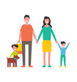 family members mother father sons and dog vector image vector image