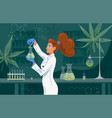 female scientist in labcoat wearing nitrile gloves vector image vector image