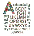 Floral alphabet isolated on vector image vector image