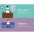 Freelance and Office woek flat set with networking vector image vector image