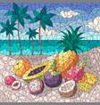 fruits beach mosaic composition vector image vector image