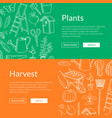 gardening doodle icons horizontal web vector image vector image