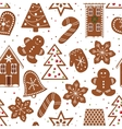 Gingerbread figures seamless pattern vector image