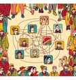 Group people social network connection color vector image vector image