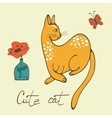 Hand drawn card with elegant cat vector image vector image