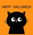 happy halloween black cat sitting silhouette cute vector image vector image