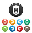 home glucometer icons set color vector image vector image