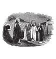 jesus speaks to ten lepers vintage vector image vector image