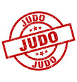 judo round red grunge stamp vector image vector image