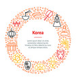 korea travel and tourism banner card circle vector image vector image