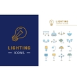Lamp icon set lighting store thin line symbols