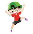 little boy wearing green cap vector image