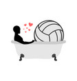 lover volleyball man and ball in bath joint vector image vector image