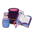 magic witch cauldron with potion bottle and book vector image vector image