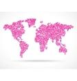 Mosaik pink world map vector image vector image