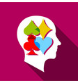 player brain icon flat style vector image