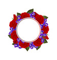 red rose and iris flower banner wreath vector image vector image
