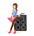 rock star female guitarist performance in vector image