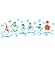 set icons different snowmen snowman with a vector image