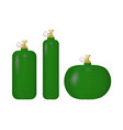set of green cylinder with liquefied gas vector image vector image