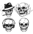 Set of hand drawn skulls vector image vector image