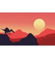 Silhouette of spinosaurus with red backgrounds vector image vector image