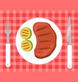 steak and vegetables picnic vector image vector image