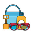sunblock sunglasses shovel and bucket beach vector image vector image