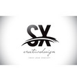 sx s x letter logo design with swoosh and black vector image vector image