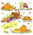 Thanksgiving day hand drawn collection vector image