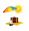 umbrella and bag summer symbol vector image vector image