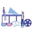 women megaphone reel strip production movie film vector image
