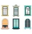 Wood windows frames isolated set exterior view vector image vector image