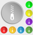 Zipper Icon sign Symbol on eight flat buttons vector image