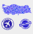 aerial composition turkey map and grunge vector image vector image
